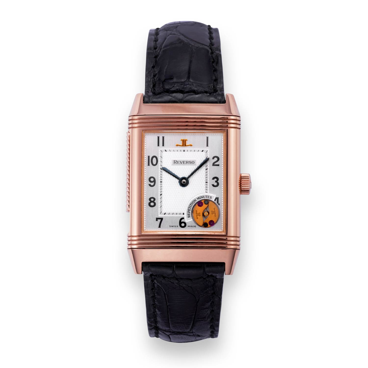 Introduced in 1994, the Reverso Répétition Minutes was equipped with the world's first rectangular minute repeater movement.