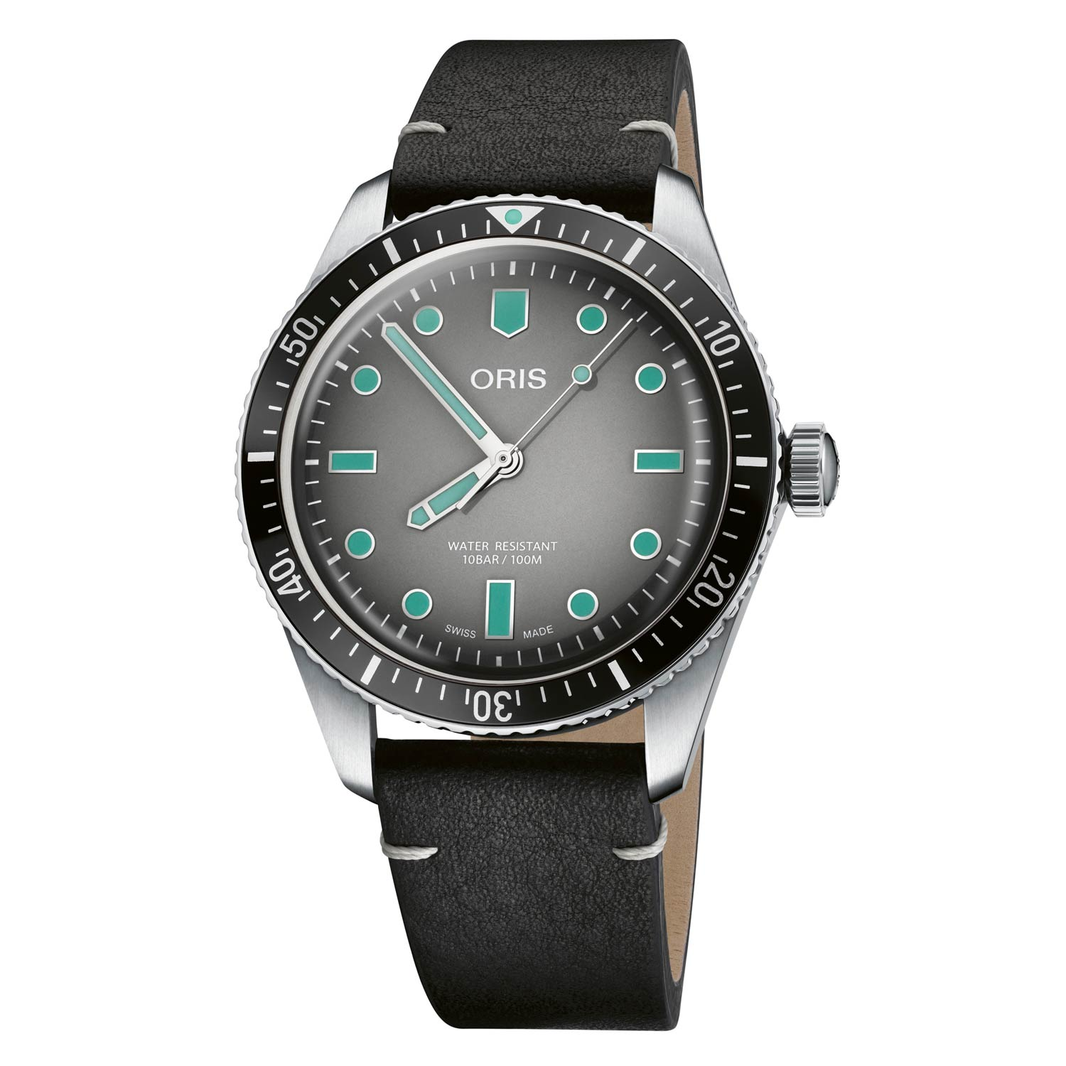 The grey gradient dial stands stark against the high-contrast turquoise lume applied to the watch's hands, hour markers, and triangle dot at 12 o'clock.