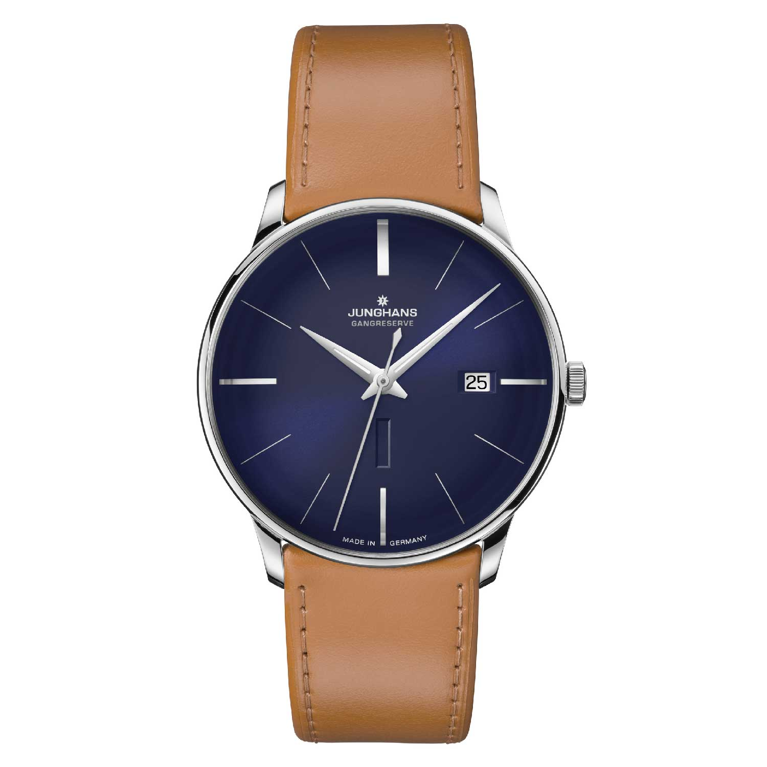 Available in three models, the Junghans Meister Gangreserve Edition 160 has a discreet date window well integrated into the clean design of the dial.