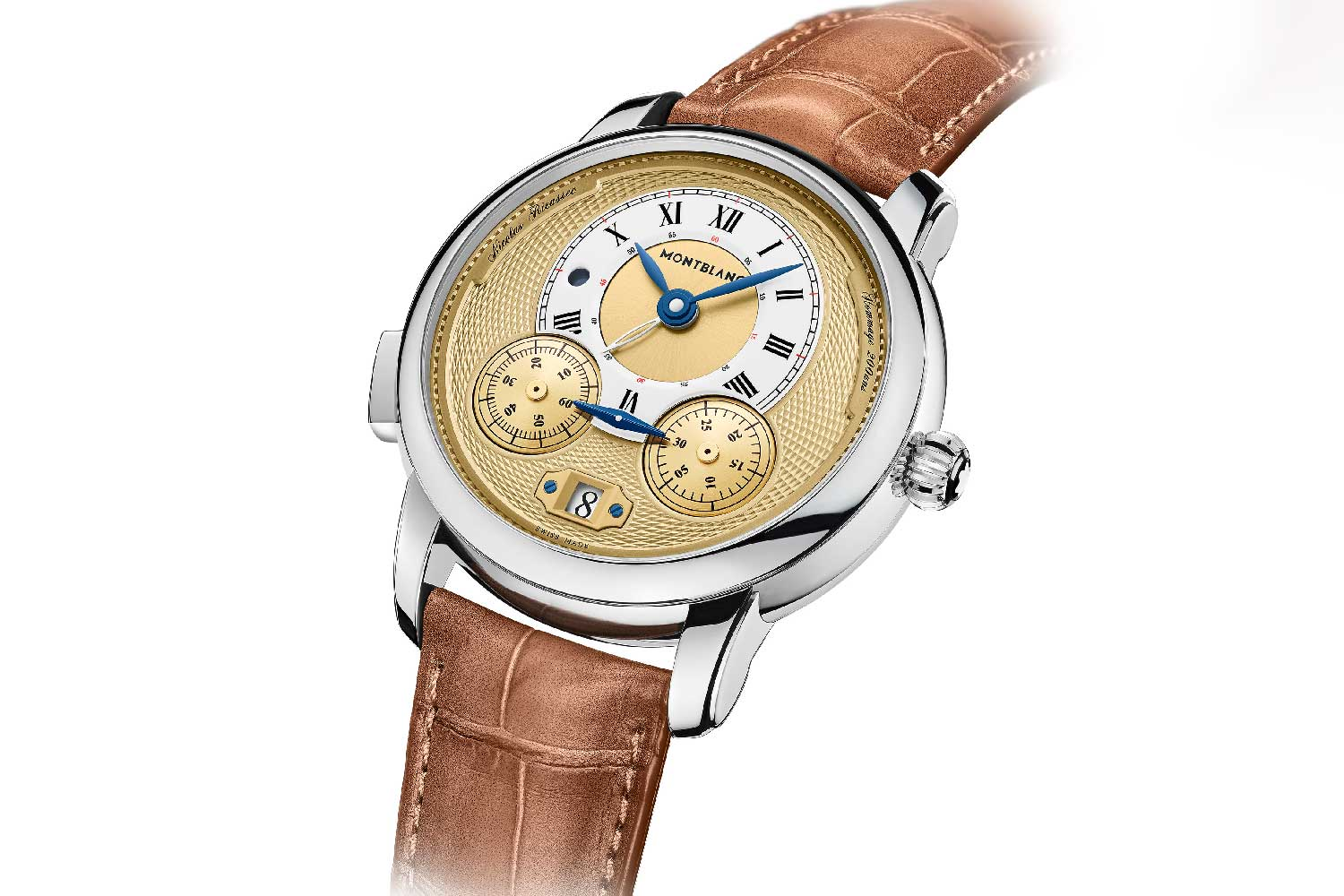 Echoing the design of the original chronograph, the Star Legacy Nicolas Rieussec Chronograph Limited Edition has two gold-coloured domed rotating chronograph discs, with 60-elapsed seconds on the left and 30-elapsed minutes on the right, displayed on the lower part of the dial.
