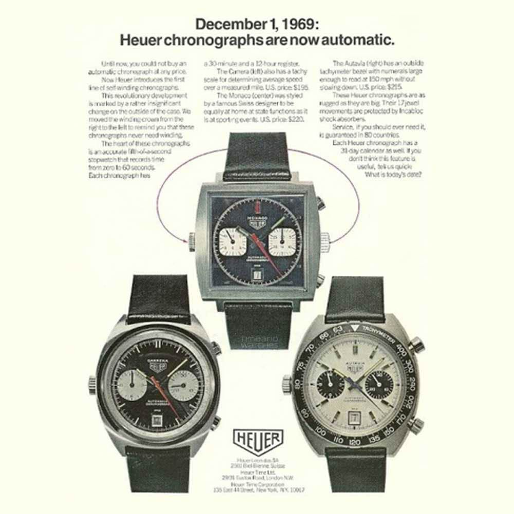 Heuer's old advertising campaign for its chronographs