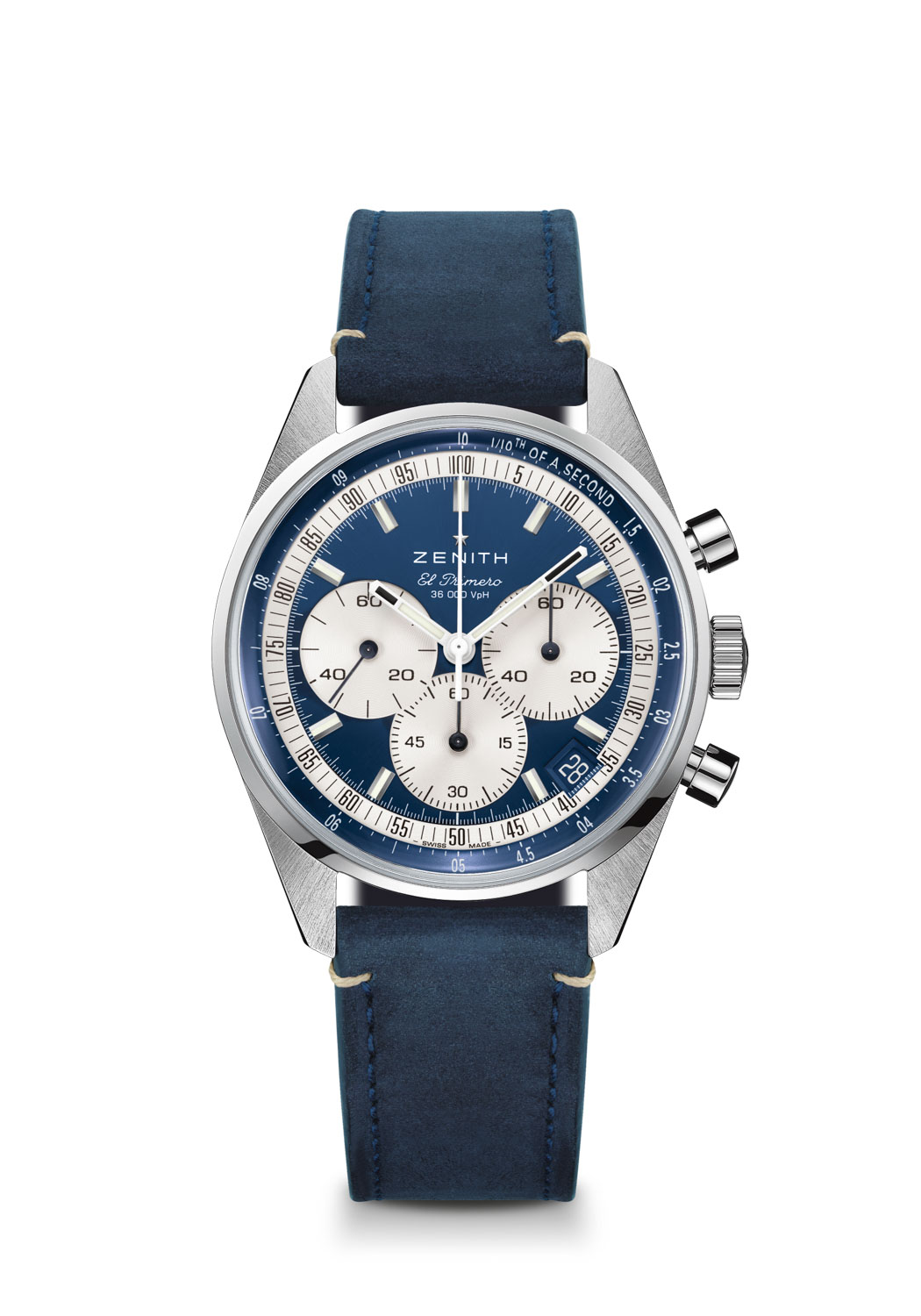 The Zenith Chronomaster Original Boutique Edition seen here on the blue calfskin leather strap