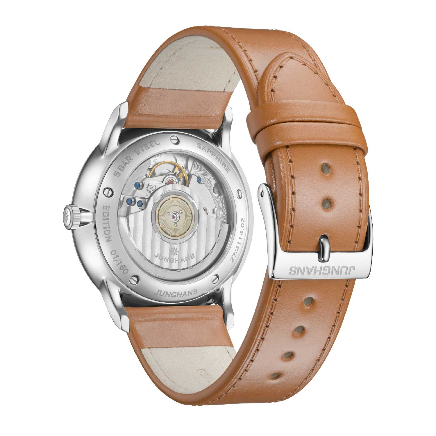 The Caliber J810.2 is a self-winding movement with a three-positional crown for winding, setting the date and setting the time.