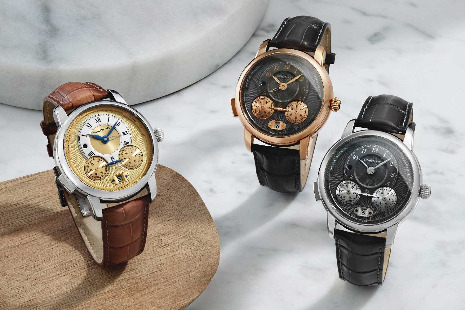 Since 1927, the Montblanc Star Legacy timepieces have featured round cases with elegant curved finishes to the sides that give a refined pebble-shaped effect.