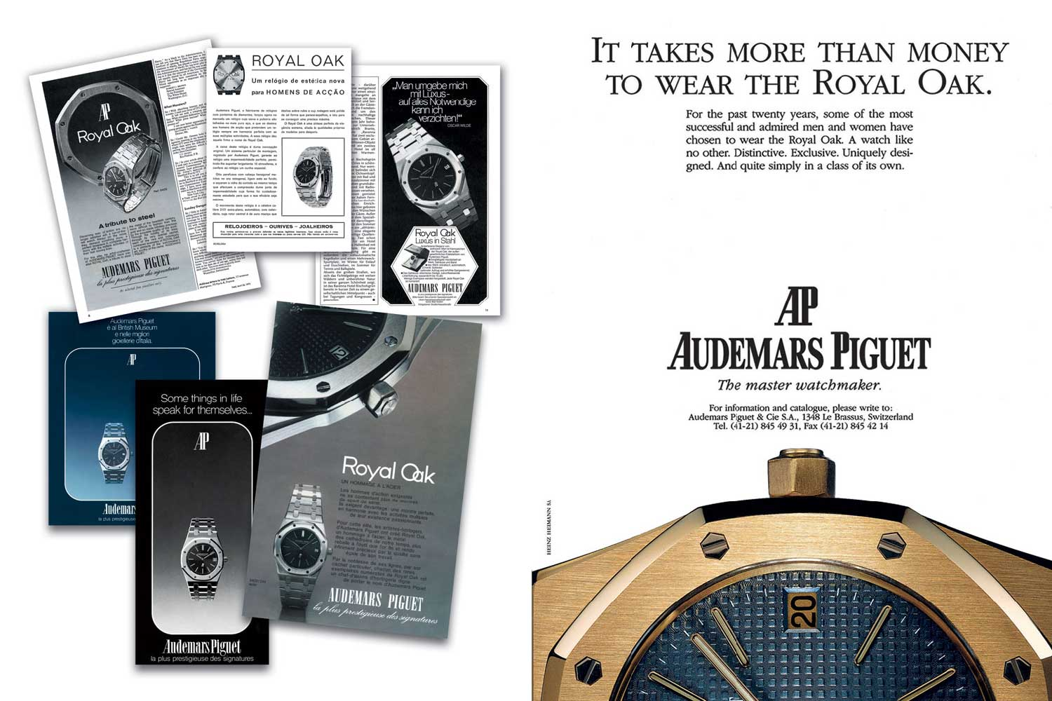 """Old advertisements highlighting the exclusivity of the Royal Oak. The Stern-manufactured """"petit tapisserie"""" dial and the integrated bracelet became the iconic elements of the watch which was marketed at CHF 3,300 in 1972."""