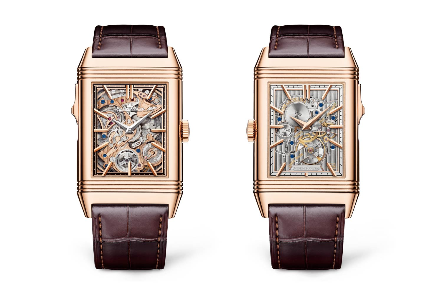 Crafted out of pink gold, the 51.1 x 31 mm minute repeater presents two distinct dials that offer a glimpse of the intricately decorated mechanism on both sides.