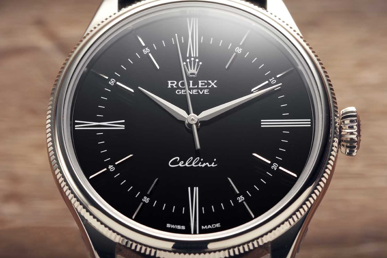 The Cellini has all the hallmarks of the Oyster, for which Rolex has become synonymous - the skinny fluted bezel, the knurled crown and the simple case.
