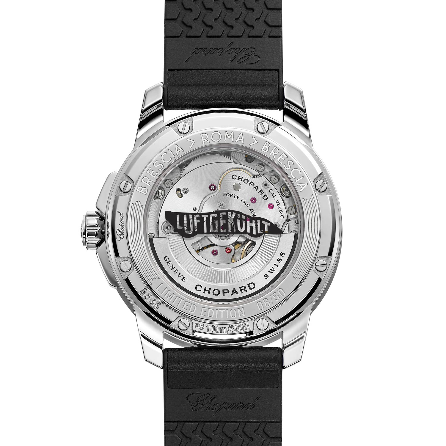The caseback is engraved with the Luftgekühlt logo and surrounded by a steel ring marked with the 'Brescia > Roma > Brescia' route of the Mille Miglia