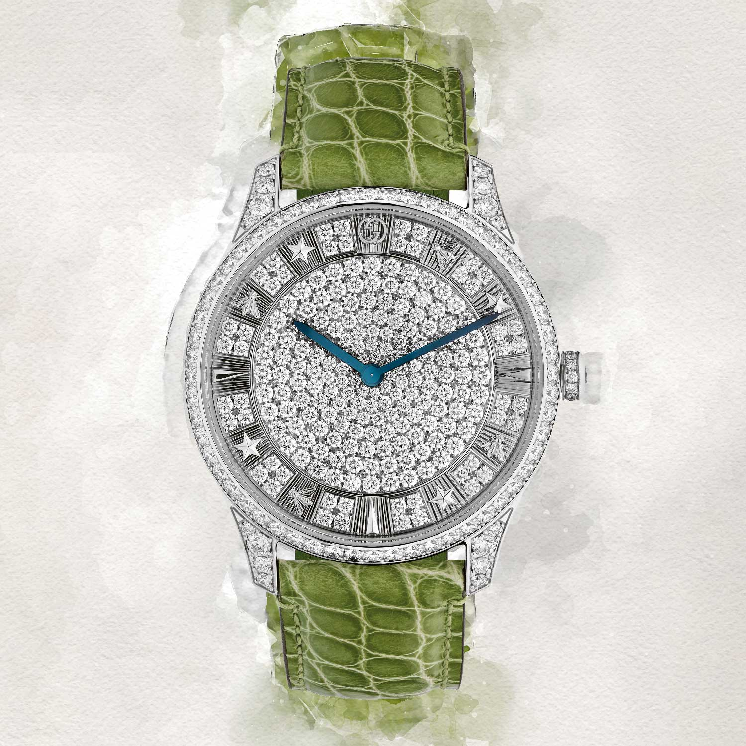 G-Timeless Pavé encrusted with white diamonds , creating a dazzling display of monochromatic texture
