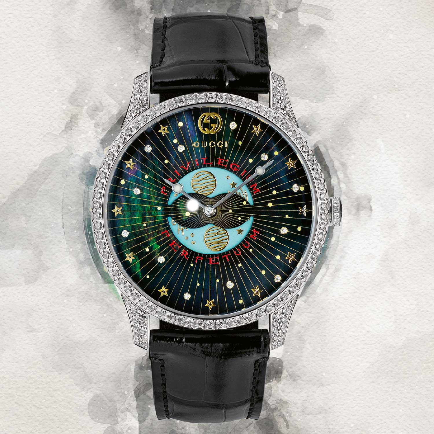 G-Timeless with moon phases featuring mother-of-pearl dial