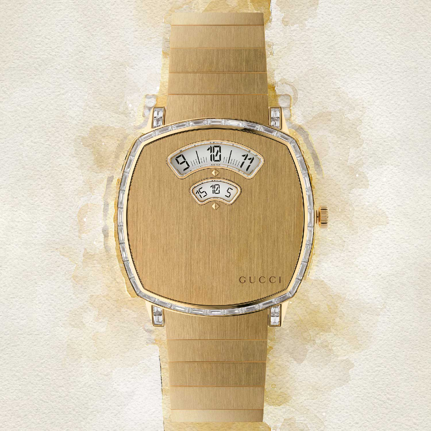 Grip featuring jump hour and minutes disc with 44 baguette-cut diamonds