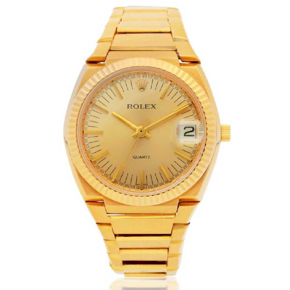"""In 1972, Rolex launched the quartz watch, reference 5100. Cased in white or yellow gold, the so-called """"Texan"""" was a big watch with an integrated bracelet. (Image: Sotheby's)"""