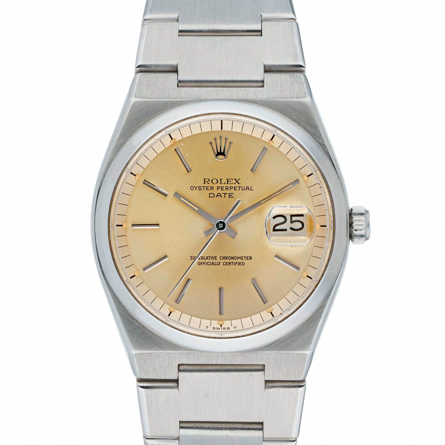 A steel Rolex 1530 with automatic movement in Oysterquartz case. The reference 1530 housed a regular Datejust movement and dial but cased in a new steel integrated bracelet watch.