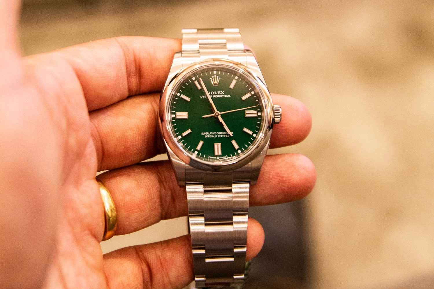 The modern Rolex Oyster bracelet in 904L steel. Rolex acquired Gay Freres in 1998.