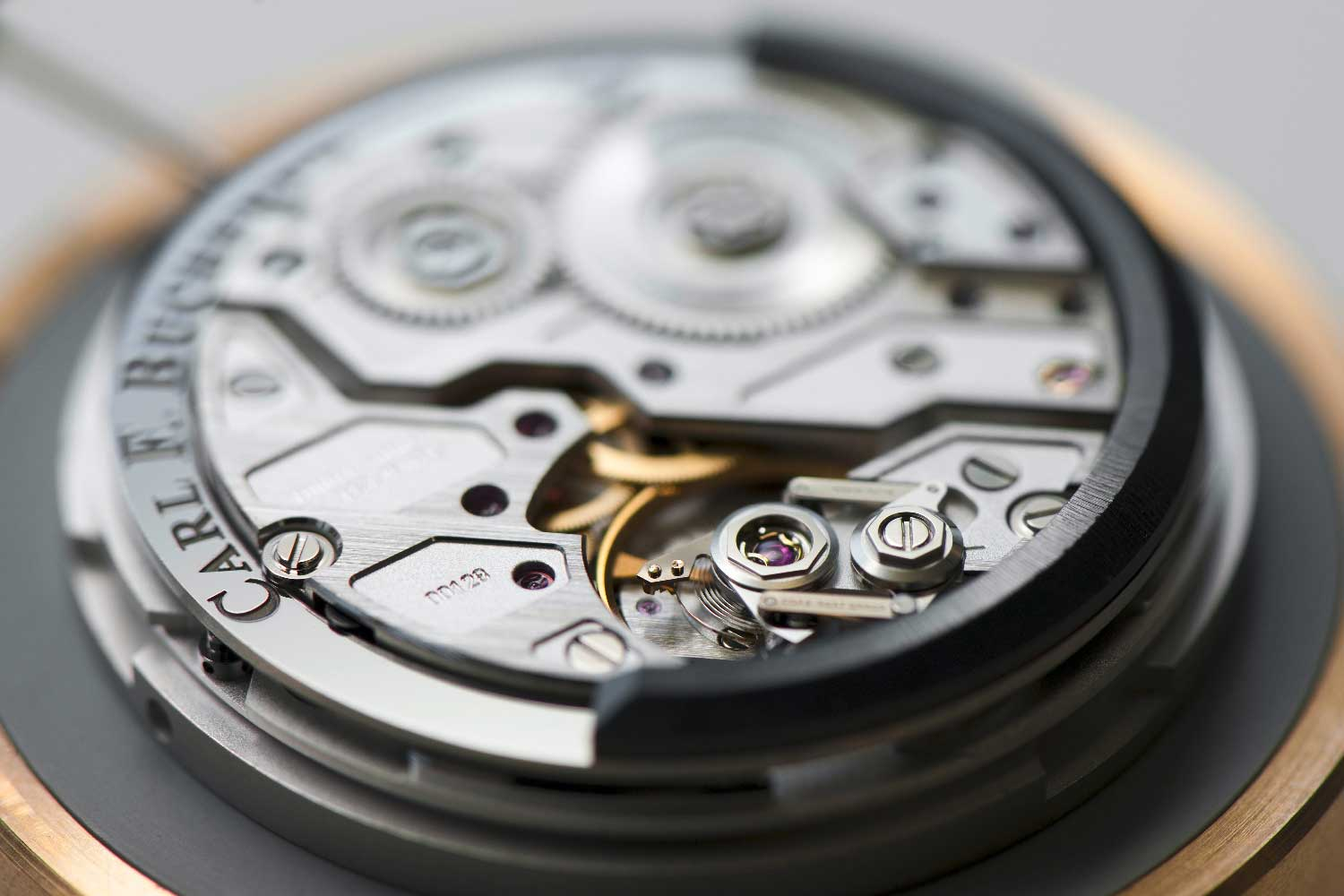 The CFB A1000 movement, featuring the world's first serially-produced peripheral rotor whose oscillating weight orbits the movement.
