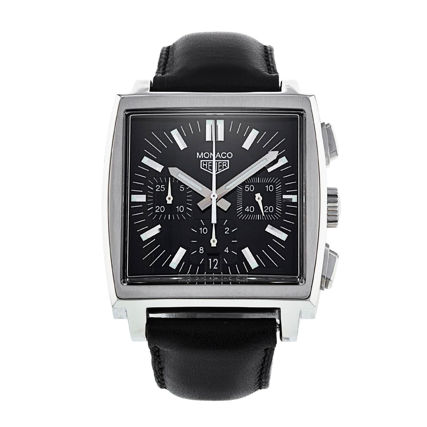 Characterised by a sculpted black dial with three counters, this TAG Heuer Monaco ref. CS2111 in our shop is from 2001