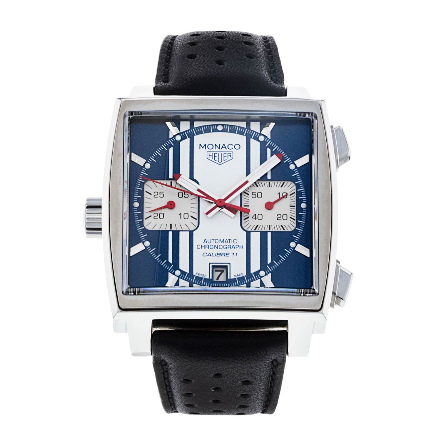 The ref. CAW211D is based on the original Steve McQueen Monaco from the 1970s.
