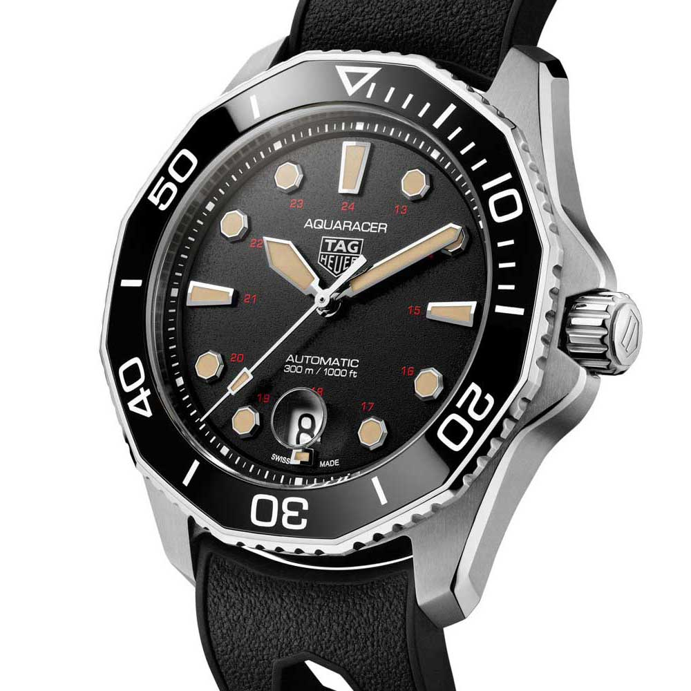 The Aquaracer Professional 300 Tribute to ref. 844 is offered in an 844-piece limited edition in polished grade 5 titanium case