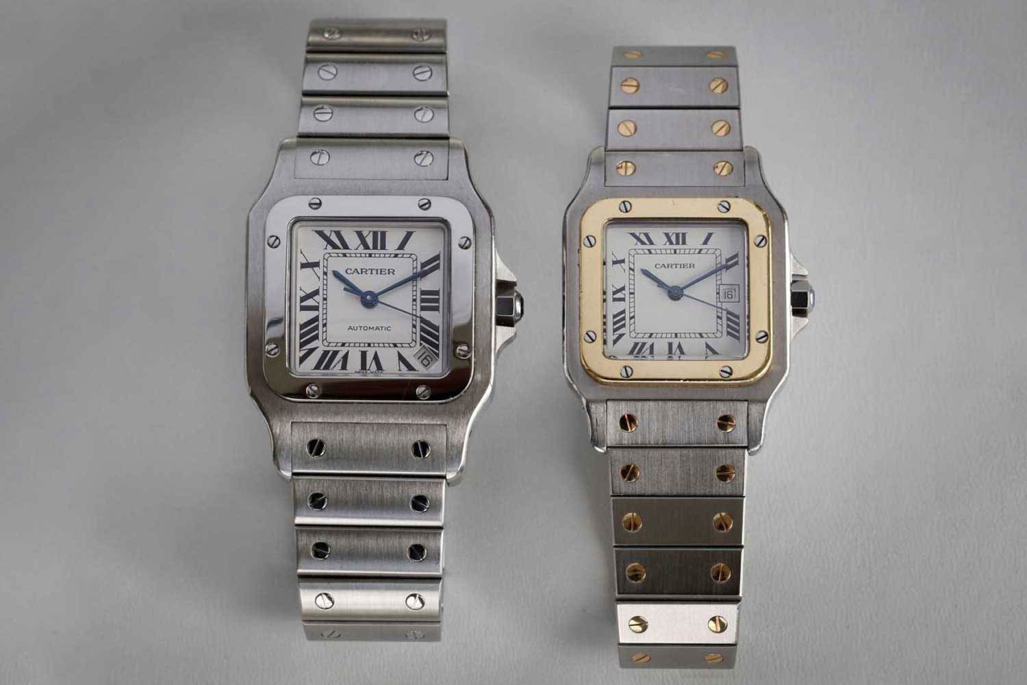 The Cartier Santos Galbée on the left and the 1978 two-tone Santos on the right (© George Cramer)