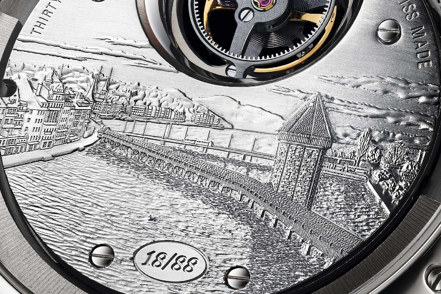 The caseback has an elaborate engraving of a city view of Lucerne, an ode to Carl F. Bucherer's hometown.