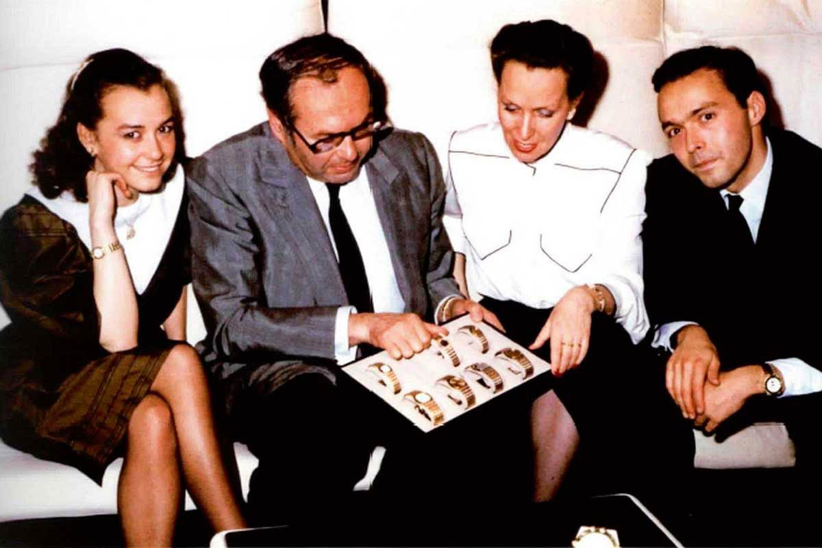 The Scheufele family in 1980 presenting the St Moritz collection