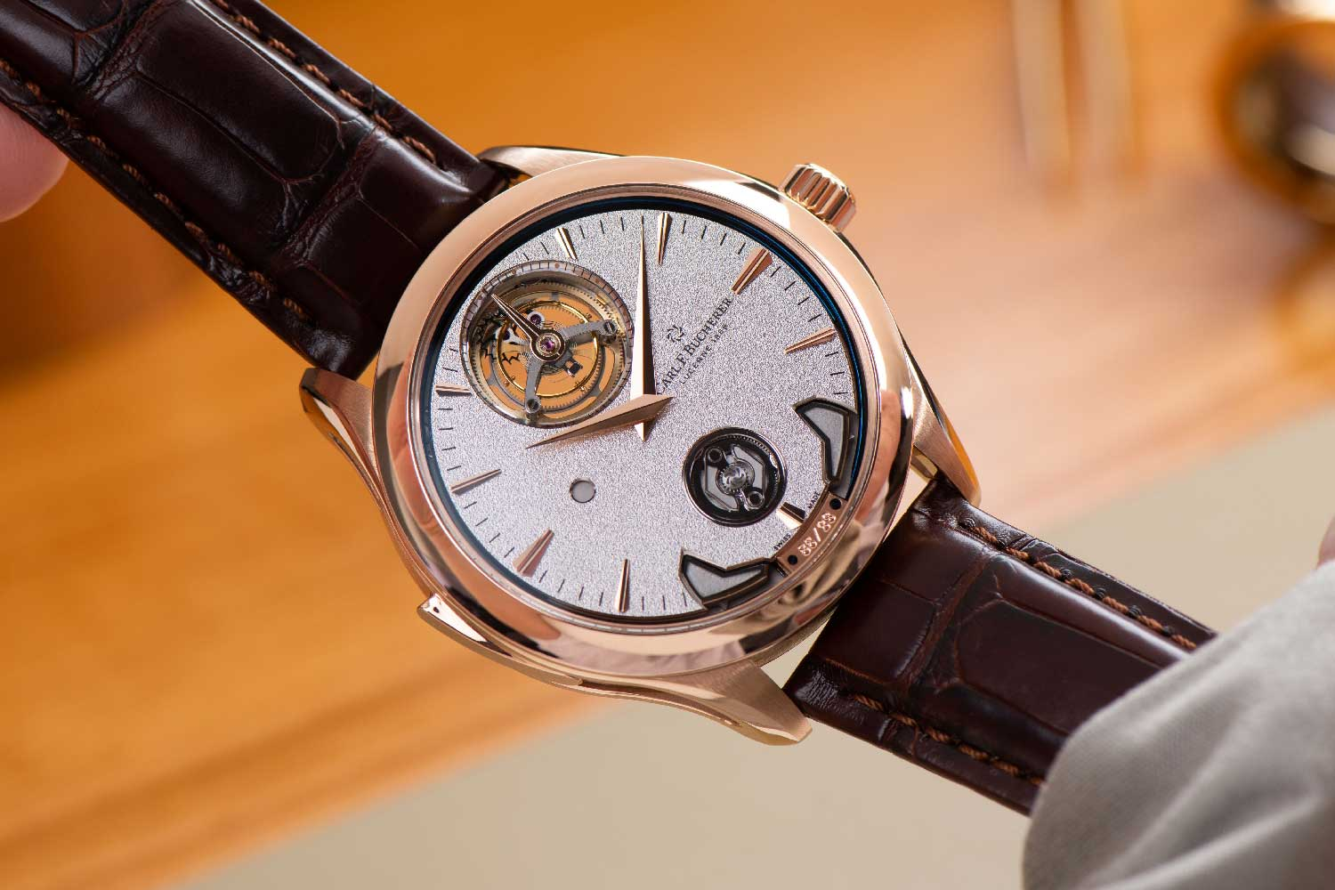 """Introduced at Watches and Wonders 2021, the Manero Minute Repeater Symphony boasts not only Carl F. Bucherer's Peripheral Winding System and floating Peripheral Tourbillon but also a third peripheral mechanism, for which the brand has christened the watch's COSC certified Calibre MR3000 """"Triple Peripheral""""."""