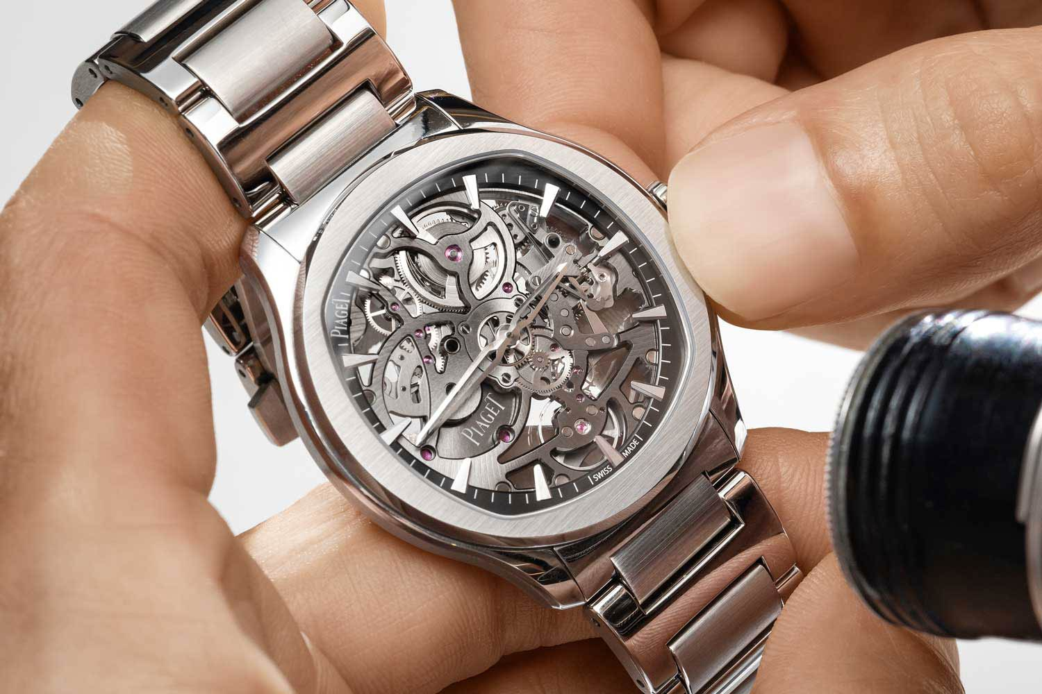 Piaget Polo Skeleton powered by the now evolved, 2.4mm 1200S1 self-winding caliber