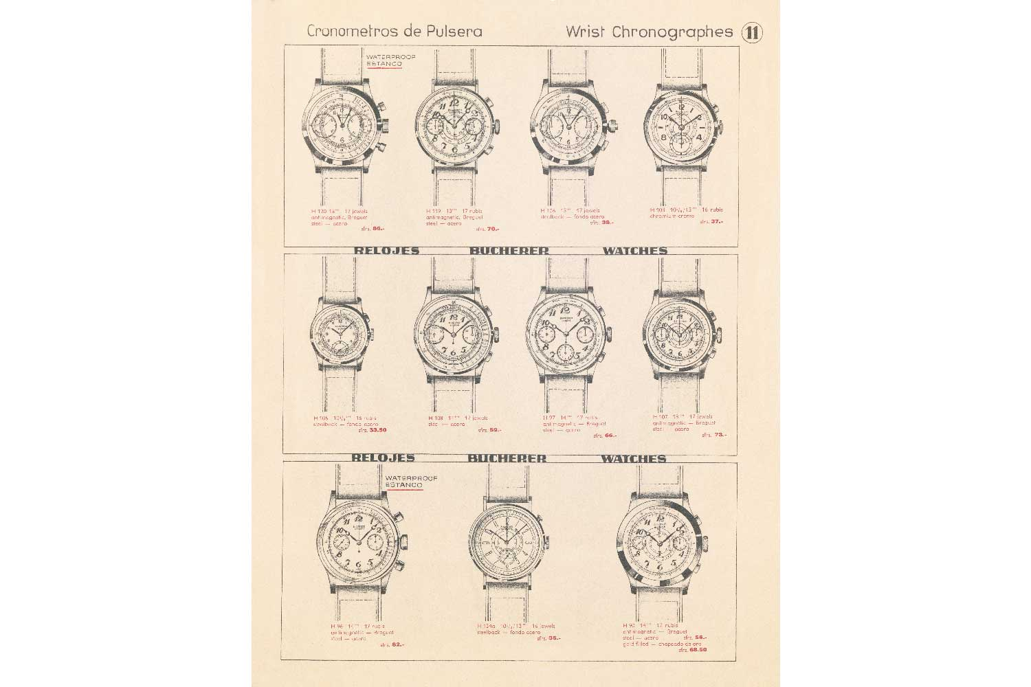 Carl F. Bucherer's chronographs made during the 1940s.
