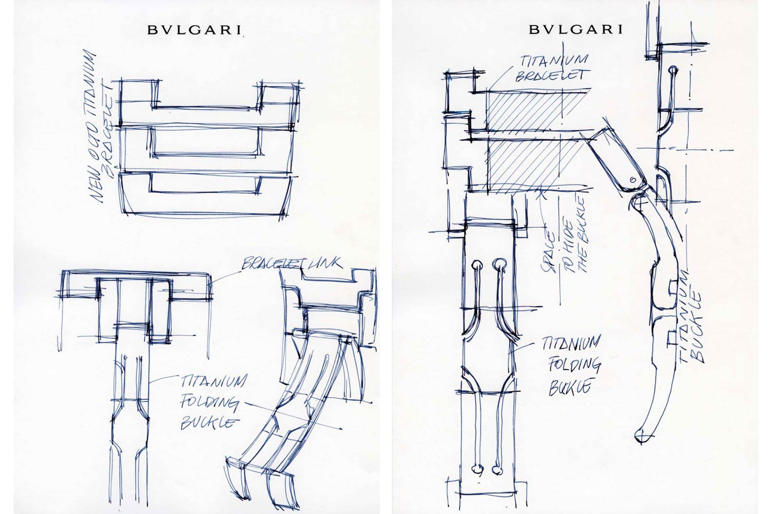 Drawings showing the conception of the Octo Finissimo's bracelet