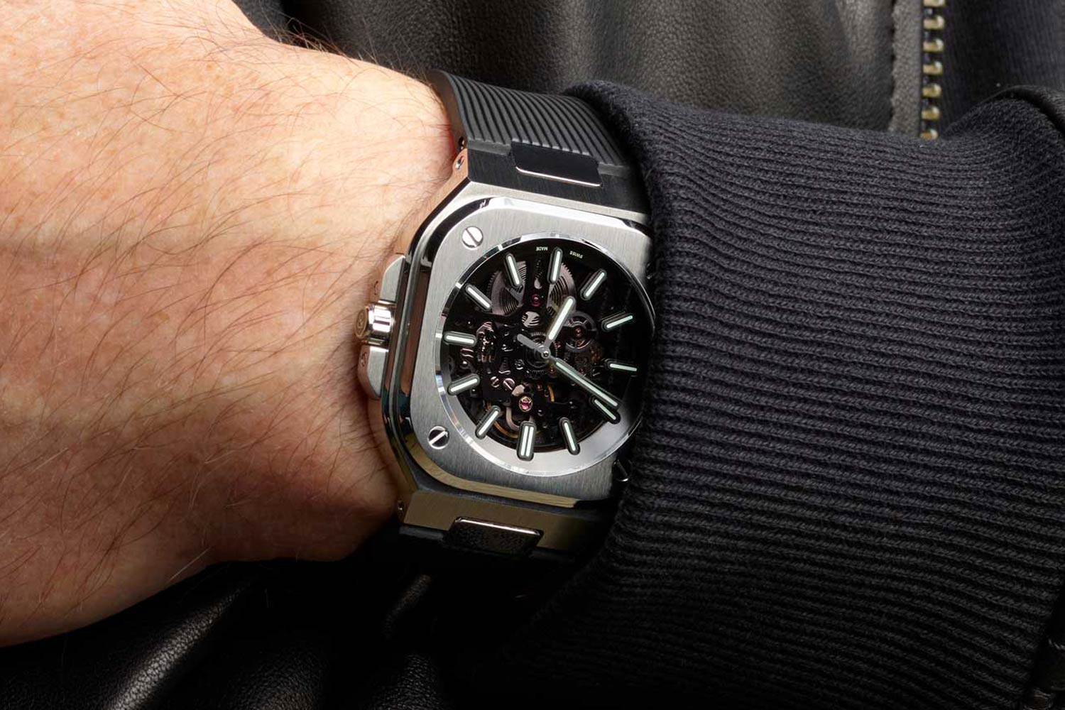 Introduced this year, the BR 05 Skeleton NIGHTLUM with its blacked-out movement and seemingly floating luminous hour markers and hands is one of the coolest watches from Bell & Ross.