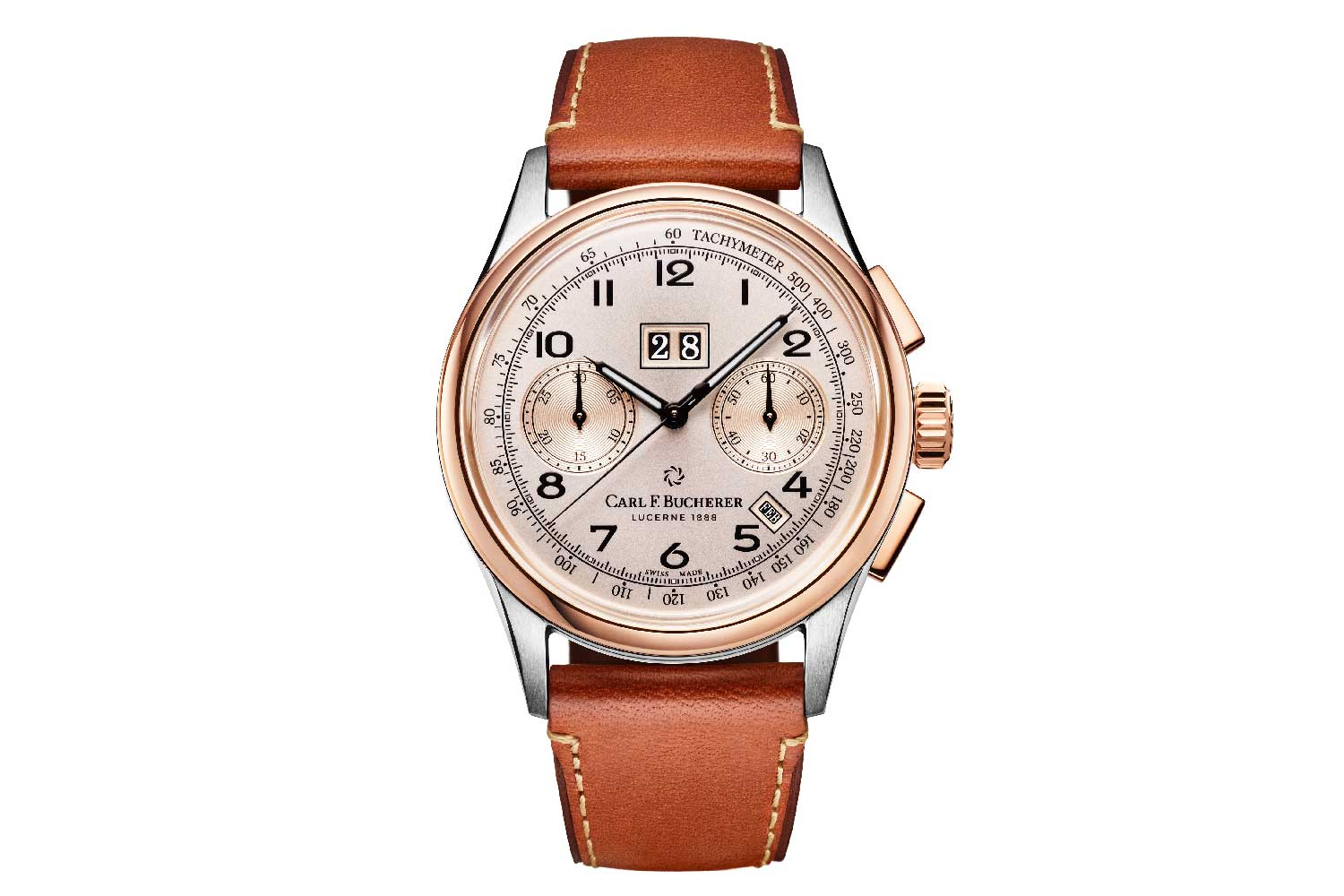 Introduced in 2019, this bi-colour Heritage BiCompax Annual features a rose-and-champagne-coloured dial, reminiscent of the 1956 timepiece that inspired the watch.