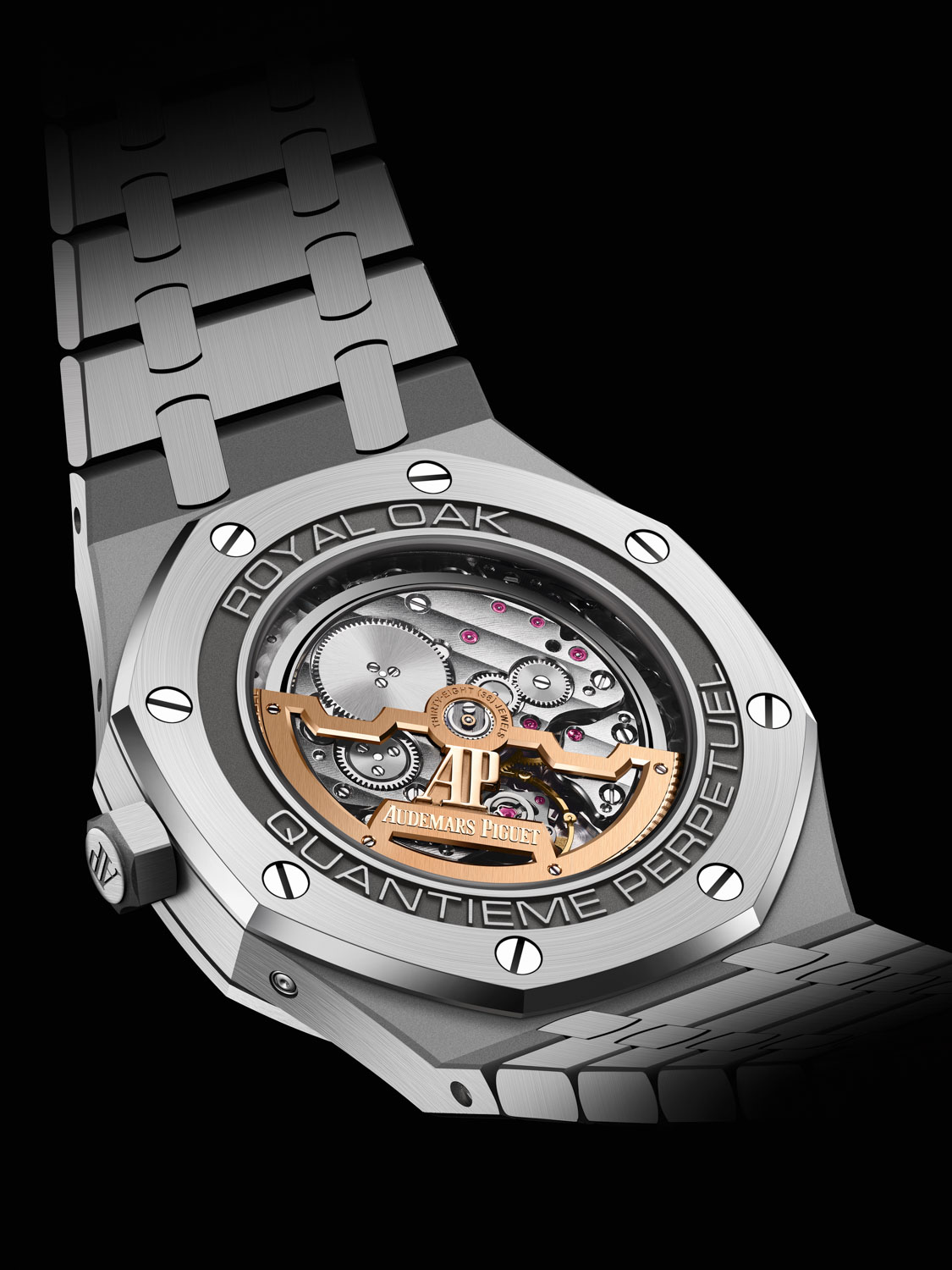 Caseback view of the 2021 Royal Oak Perpetual Calendar in Titanium, showing off the self-winding Calibre 5134 within