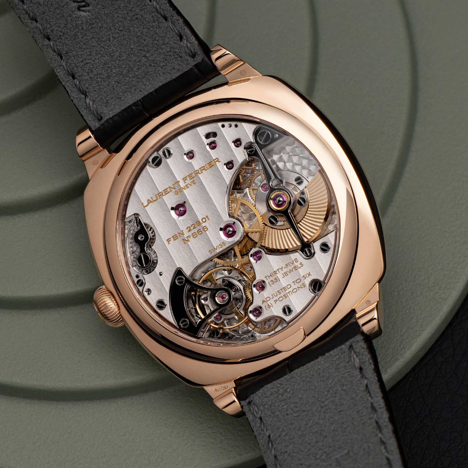Caseback of the 2021 Laurent Ferrier Square Micro-Rotor in 18K 5N red gold