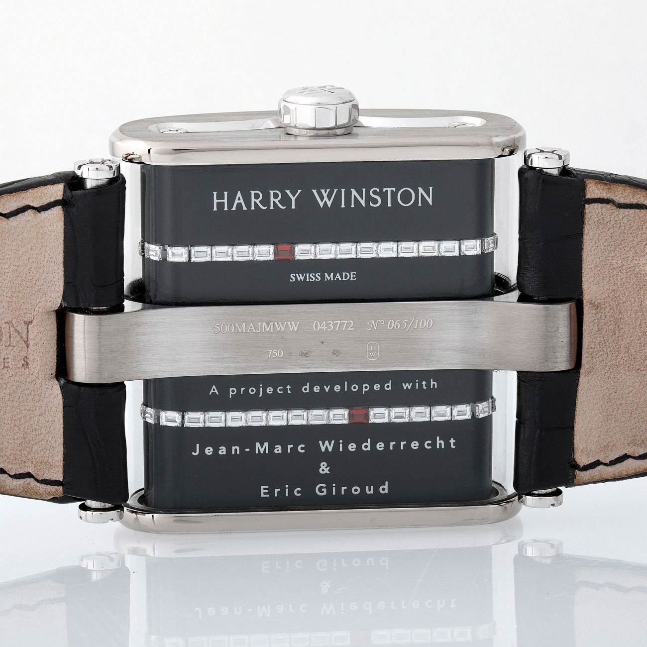 Lot 136 Harry Winston: Limited Edition and Massive Opus 9 Automatic Wristwatch in White Gold, Ref. Opuahm56ww001, with Black Diamonds-Set Dial