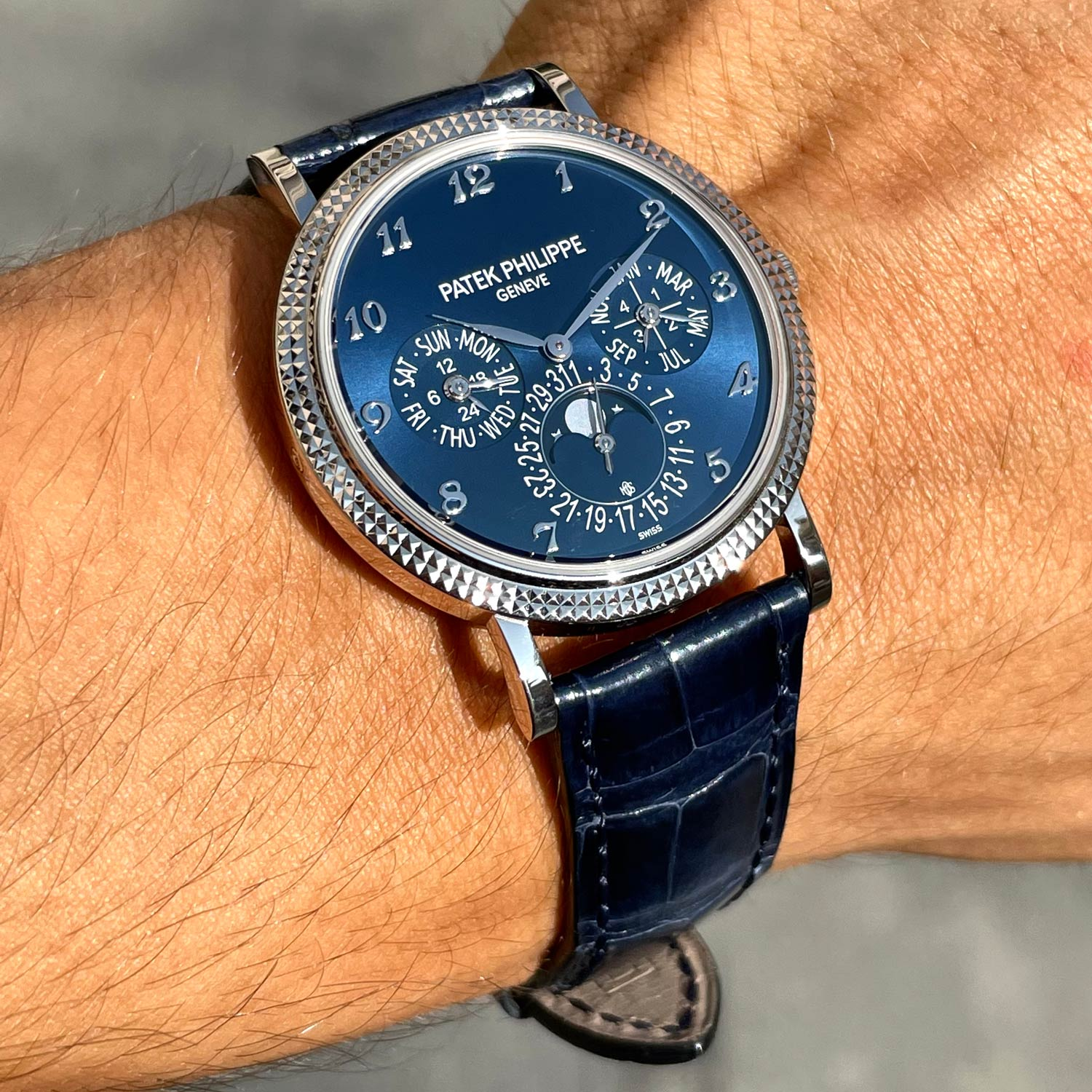 Lot 123 Patek Philippe: Extraordinary and Unique Perpetual Calendar Wristwatch in White Gold, Reference 5139g, Moon Phases, Original Certificate. Special Order for Michael Ovitz.