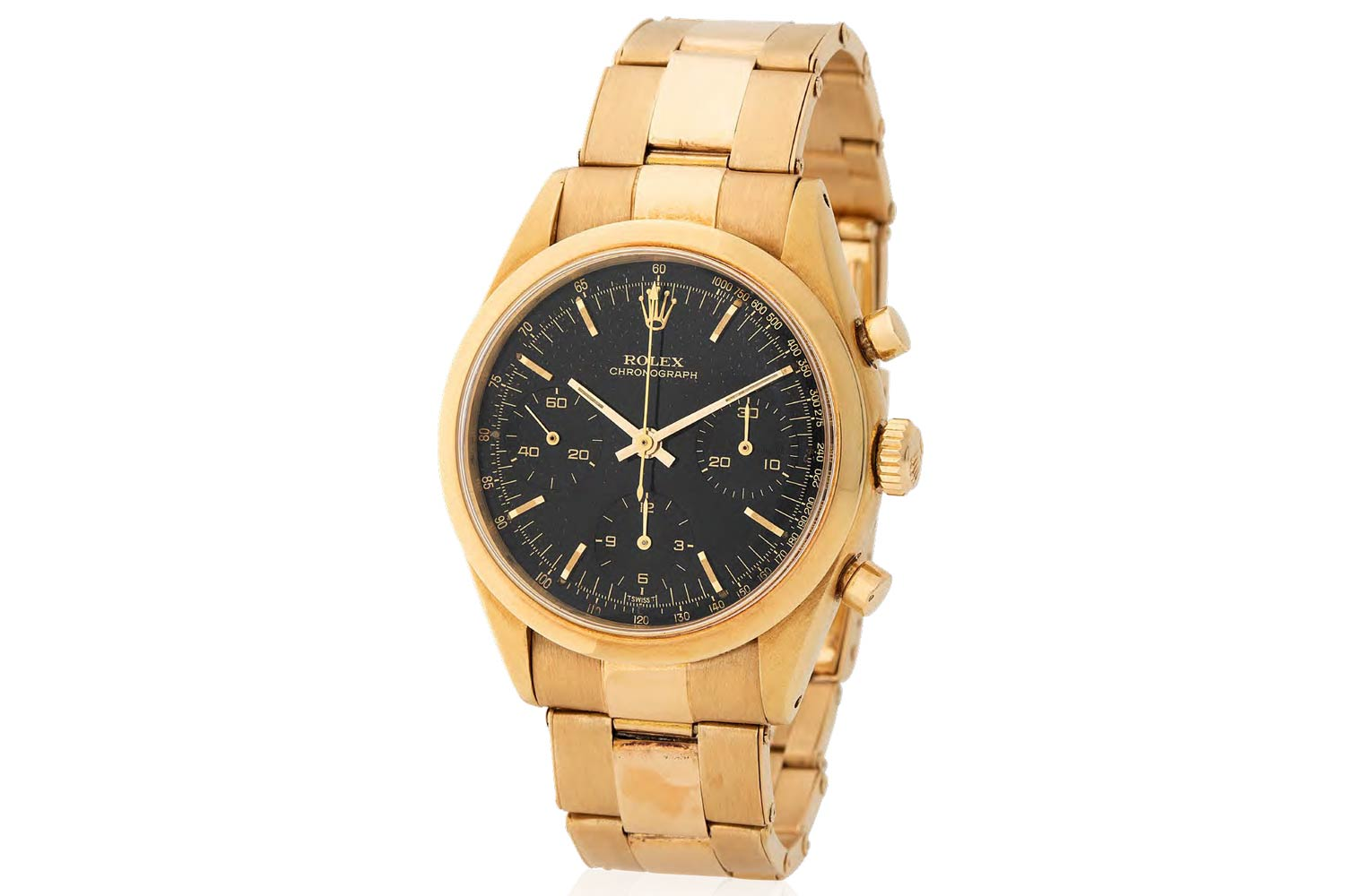 Lot 258 Rolex: Possibily unique and extremely attractive, Pre-Daytona Chronograph wristwatch in 18k yellow gold, reference 6238, black lacquer dial, former property of John Goldberger, published in the 100 superlative Rolex watches book.