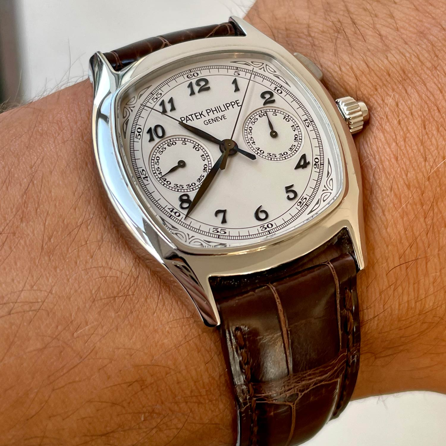 Lot 144 Patek Philippe: Extremely Fine and Rare Single Button Split Seconds Chronograph Wristwatch in Stainless Steel, Reference 5950, with Original Certificate of Origin, Accessories and Original Boxes