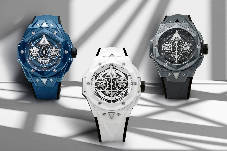 Hublot Big Bang Sang Bleu II Ceramic in blue, white and grey colorways