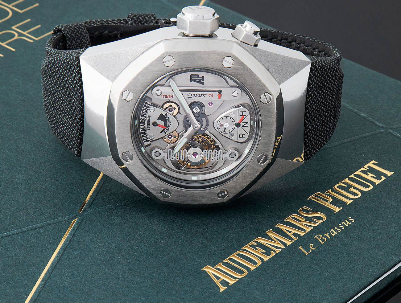 Lot 256 Audemars Piguet: Extremely Rare 150 Pieces Limited Edition, Semi-Skeletonized Tourbillon Oversized Royal Oak Concept Wristwatch in Alacrite, Reference 25980ai, with Extract from The Archives