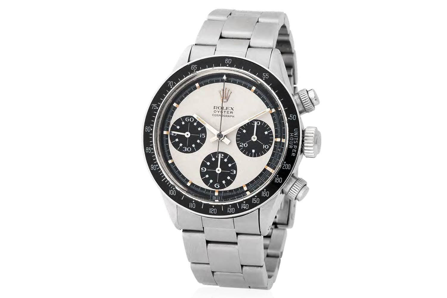 """Lot 276 Rolex: Fresh to the market, coming from the original owner family, absolutely mint Daytona Paul Newman """"Panda"""" Mark I Chronograph wristwatch in steel, reference 6263"""