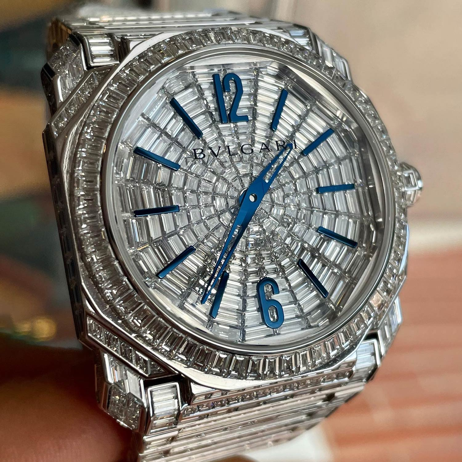 Lot 236 Bulgari: Extremely Precious and Very Limited-Edition Octo L'originale Automatic Wristwatch in White Gold with Full Set Pave Baguette Diamonds, Reference 103212, with Box and Papers