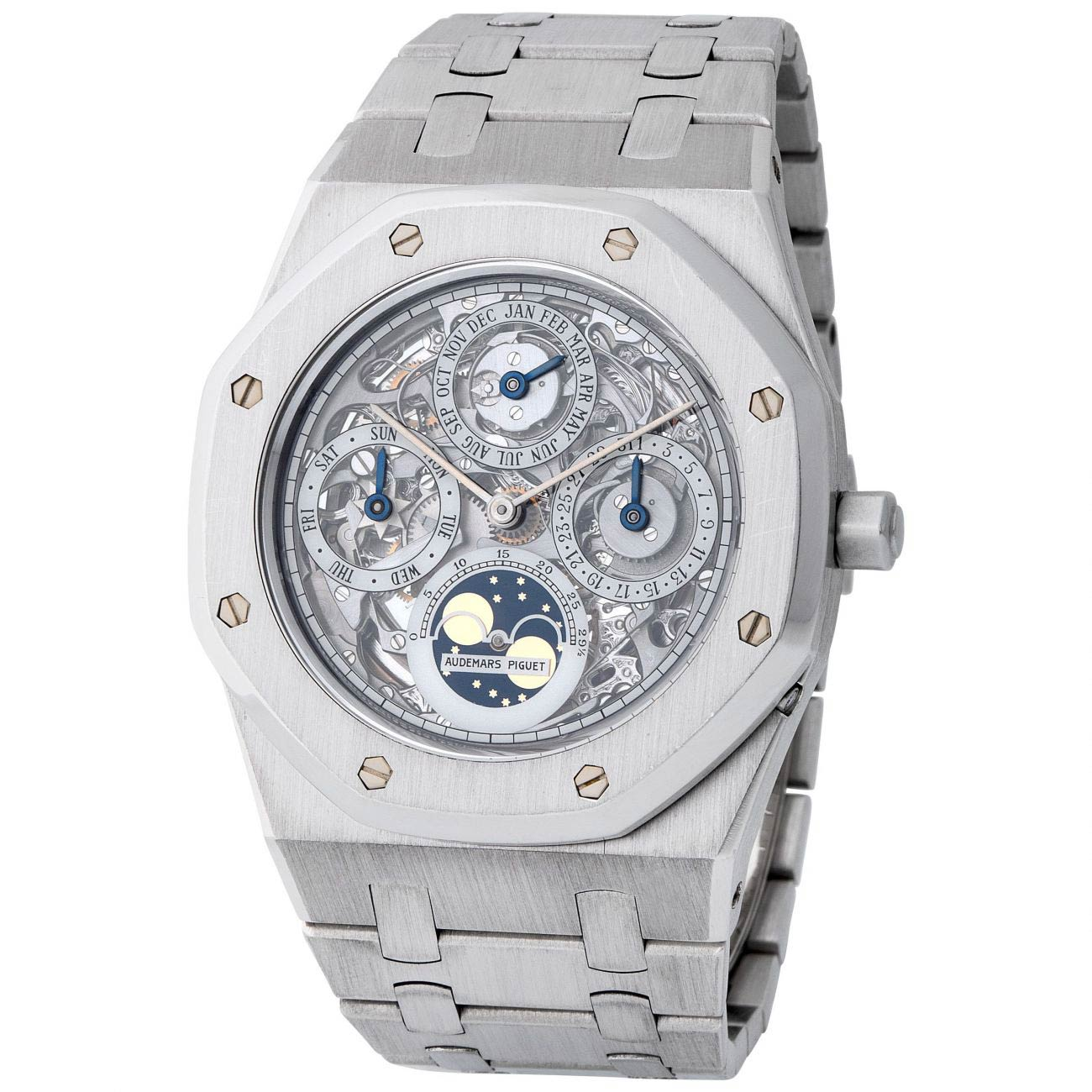 Lot 280 Audemars Piguet: Astonishing, Precious Early Royal Oak Quantieme Perpetuel Automatic Wristwatch in Platinum, Reference 25636pt, With Skeletonized Dial and Extract from the Archives