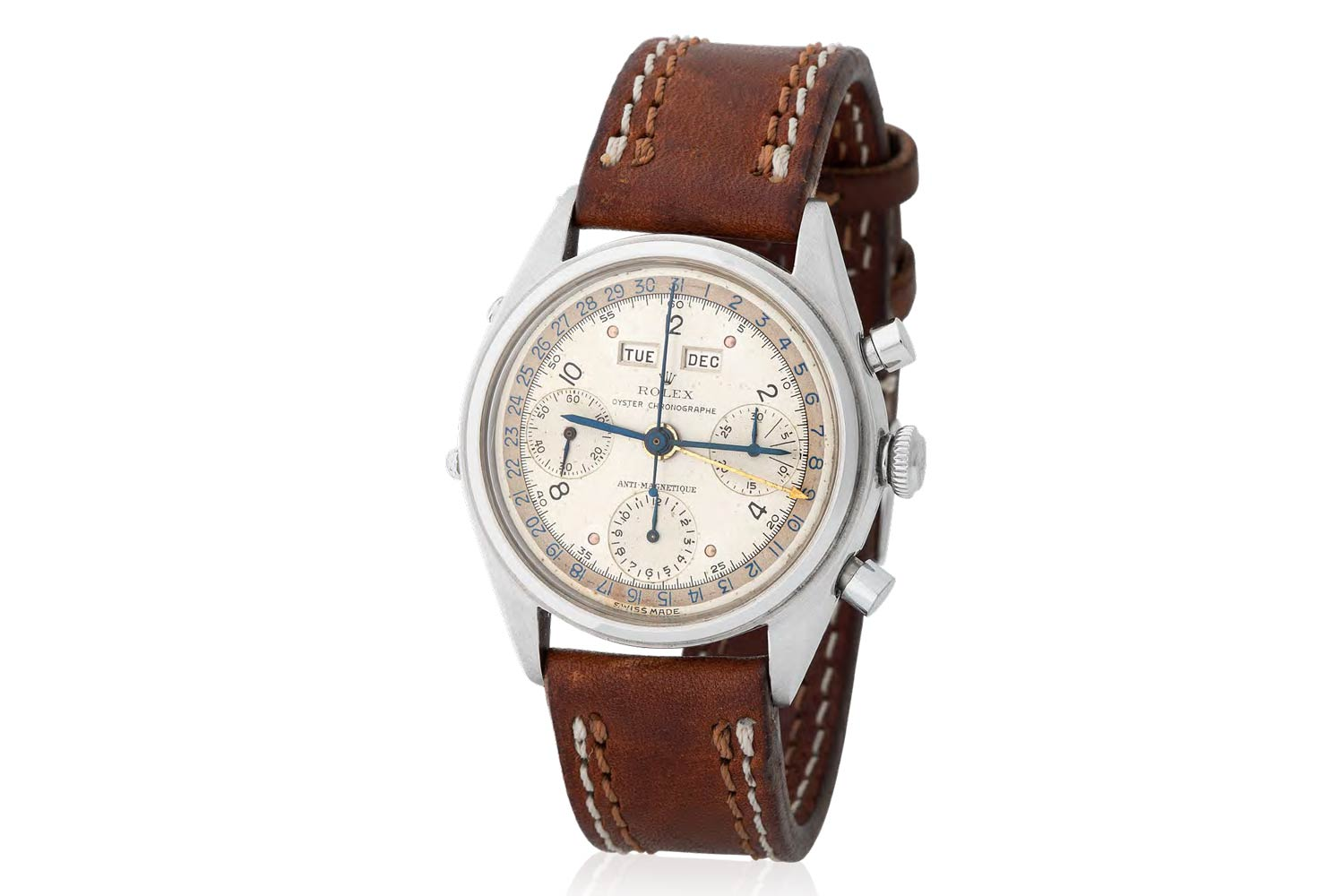 Lot 194 Rolex: Extremely rare, sought-after and historically important, Jean-Claude Killy, triple calendar chronograph wristwatch in steel, reference 4767, with two-tone dial and enamel arabic numbers