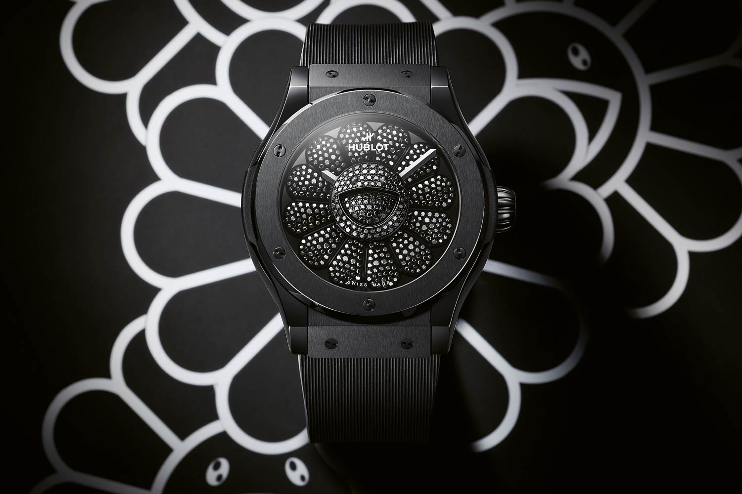 Hublot Classic Fusion Takashi Murakami All Black featuring black lacquered dial with rotating décor and black-plated petals set with black diamonds ©TM/KK