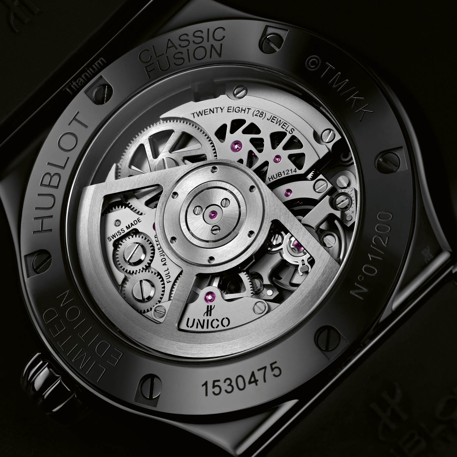 In-house Hublot Unico 1214 automatic movement with 72-hour power reserve