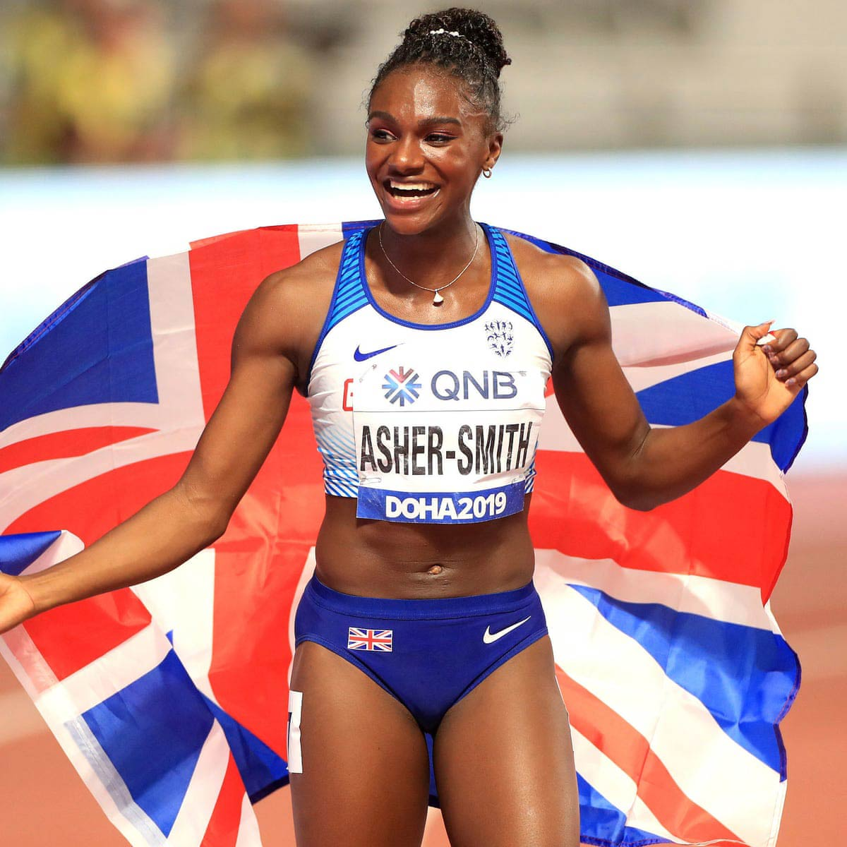 Dina ran the 100 meters in 10.83 seconds at the World Athletics Championships in Doha 2019