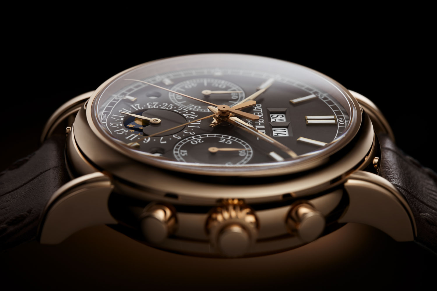 Patek Philippe Reference 5204R-011 Split-Seconds Chronograph and Perpetual Calendar in rose gold with slate gray dial