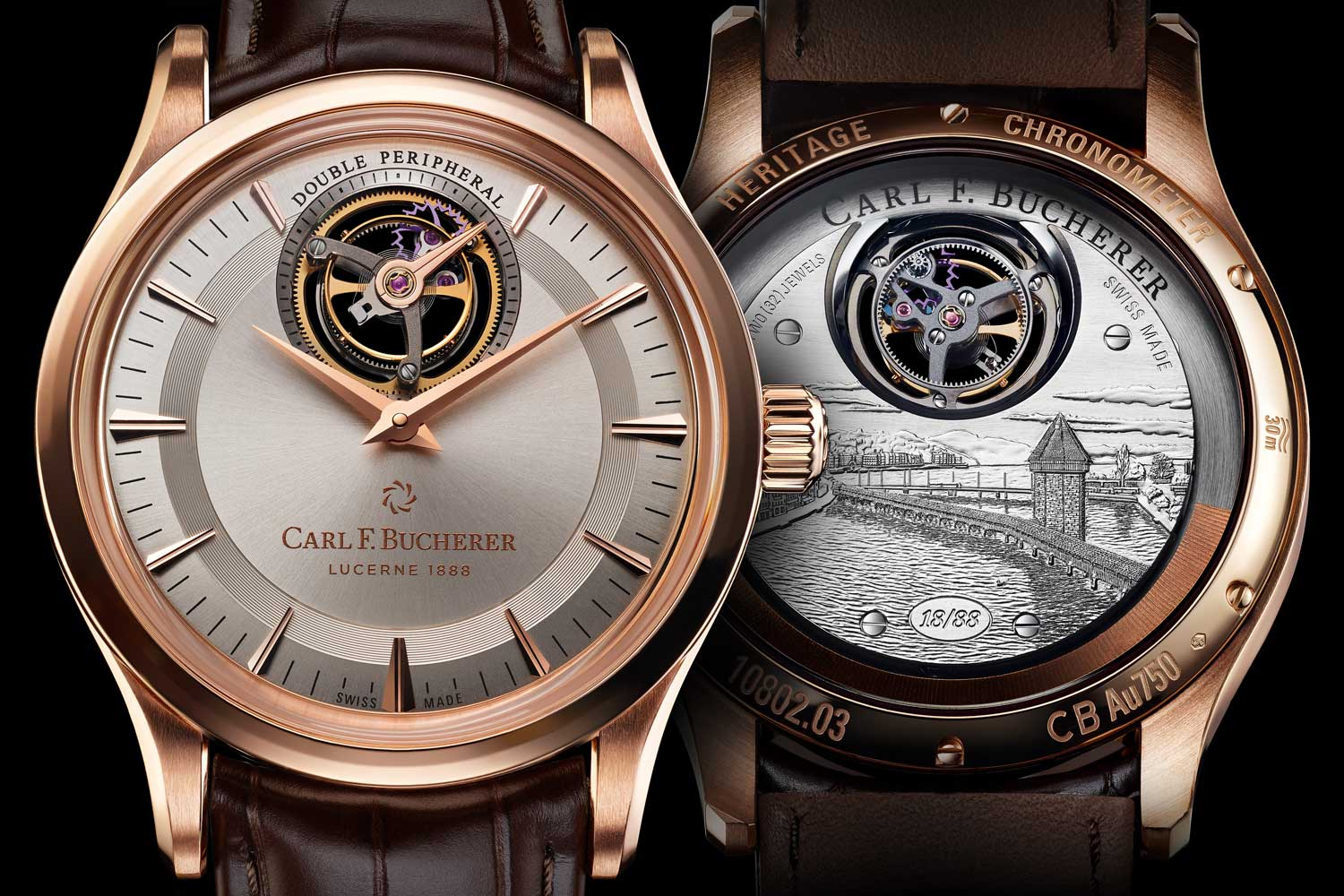 The 2018, Heritage Tourbillon Double Peripheral – Limited Edition equipped with the CFB T3000 movement is a perfect example of a timepiece that resides under the Maison & Heritage Brand World