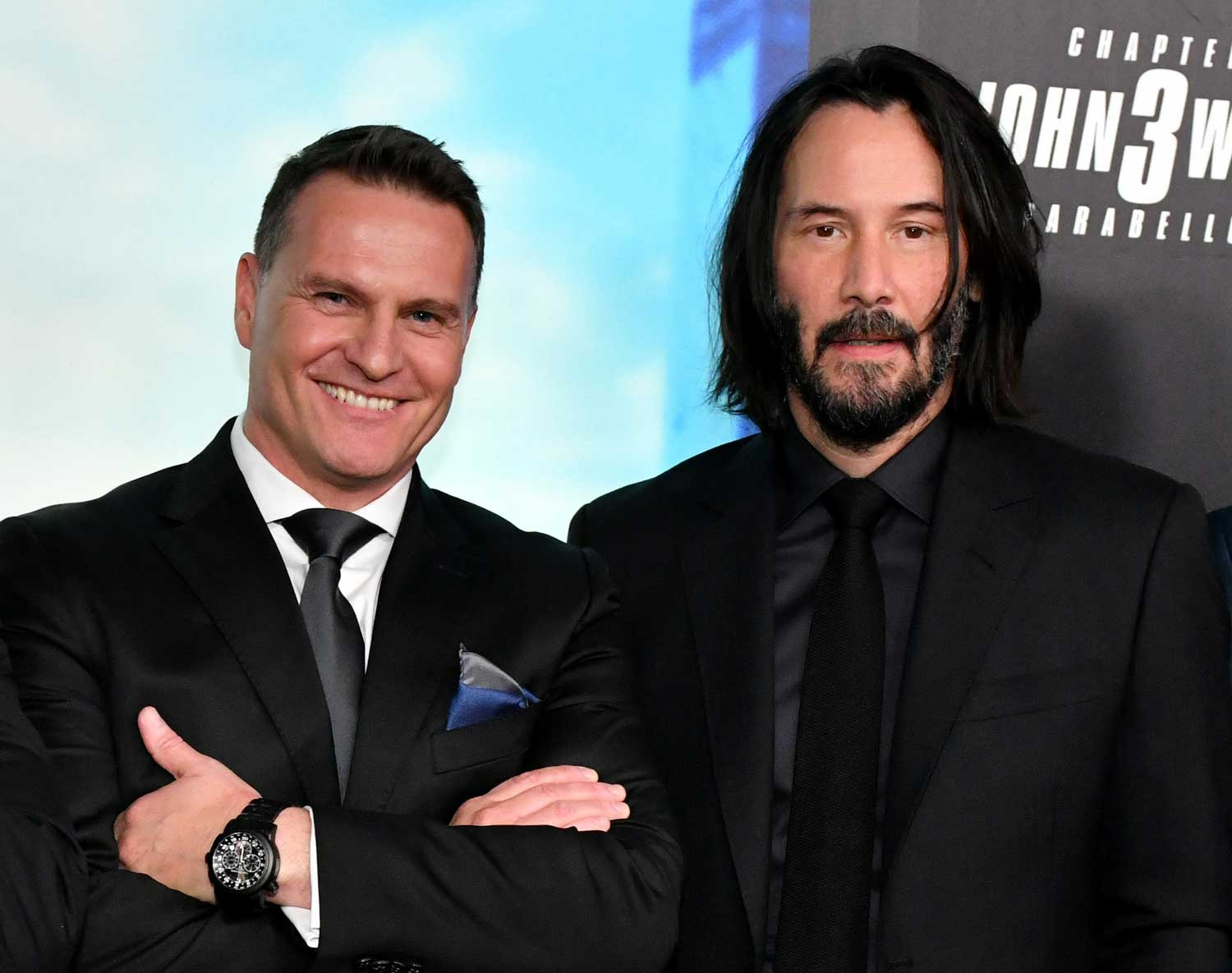 """BROOKLYN, NEW YORK - MAY 09, 2019: Carl F. Bucherer CEO Sascha Moeri (L) and Keanu Reeves attend 'Time For The Big Screen' presented by Carl F. Bucherer to celebrate the premiere of """"John Wick: Chapter 3 - Parabellum"""" on May 09, 2019 in Brooklyn City. (Photo by Craig Barritt/Getty Images for Carl F. Bucherer)"""