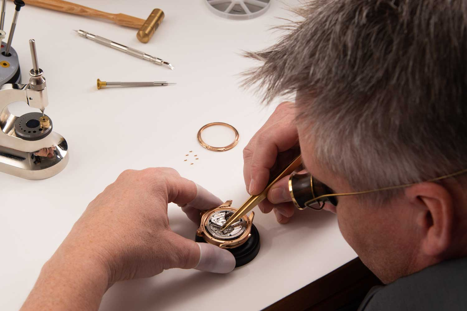 A Carl F. Bucherer watchmaker working on the Manero Minute Repeater Symphony at the brand's Lucerne manufacture.